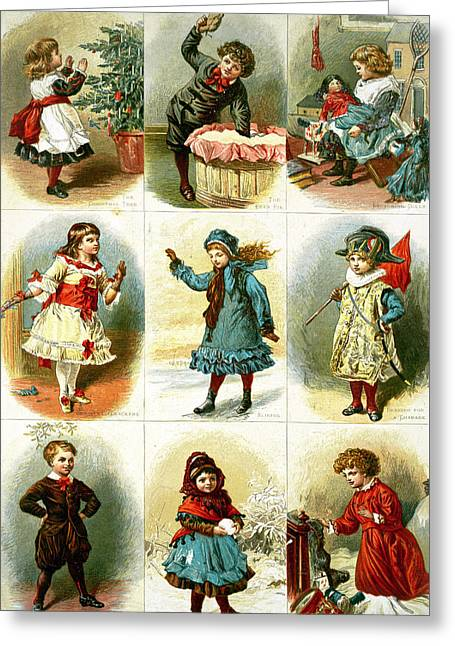 Little Boy Drawings Greeting Cards - Vintage Christmas Cards Greeting Card by Charles J Staniland