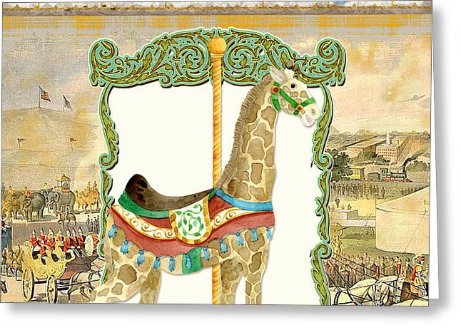 Brass Etching Greeting Cards - Vintage Circus Carousel - Giraffe Greeting Card by Audrey Jeanne Roberts