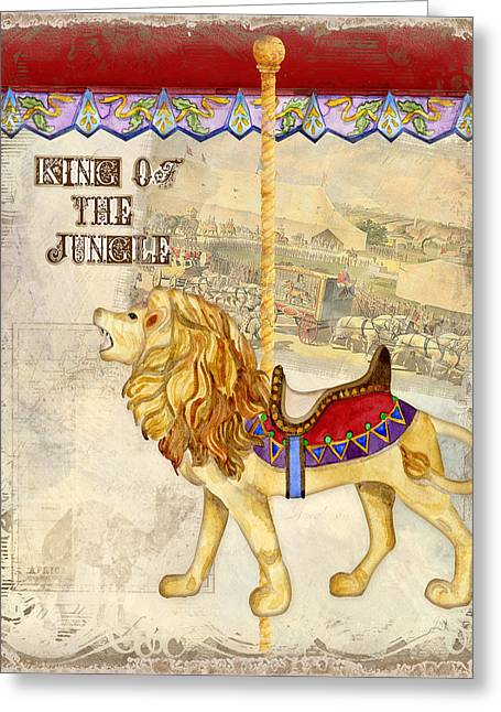 Brass Etching Greeting Cards - Vintage Circus Carousel - Roaring Lion Greeting Card by Audrey Jeanne Roberts
