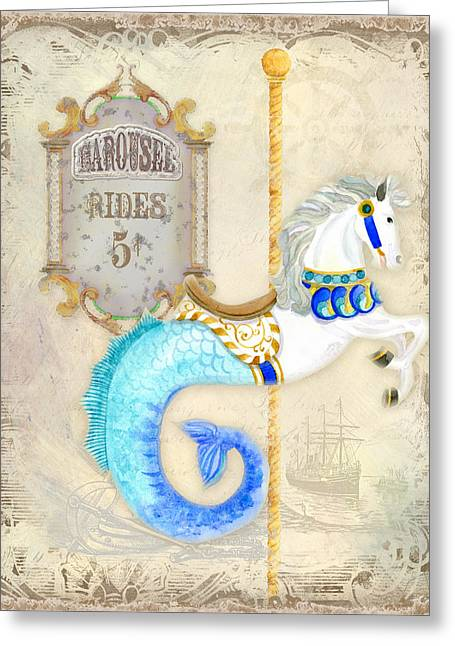 Brass Etching Greeting Cards - Vintage Circus Carousel - Seahorse Greeting Card by Audrey Jeanne Roberts