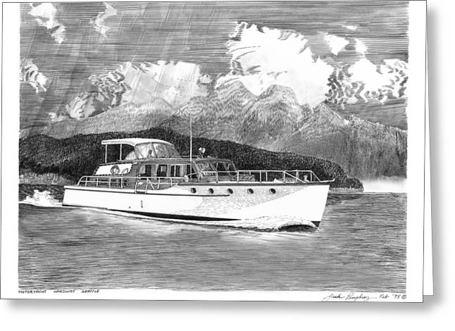 Seattle Framed Prints Greeting Cards - 1955 classic Motoryacht Greeting Card by Jack Pumphrey