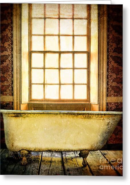 Tub Greeting Cards - Vintage Clawfoot Bathtub by Window Greeting Card by Jill Battaglia