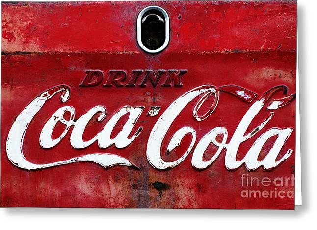 Anahi Decanio Greeting Cards - Vintage Coca Cola Sign Greeting Card by Anahi DeCanio