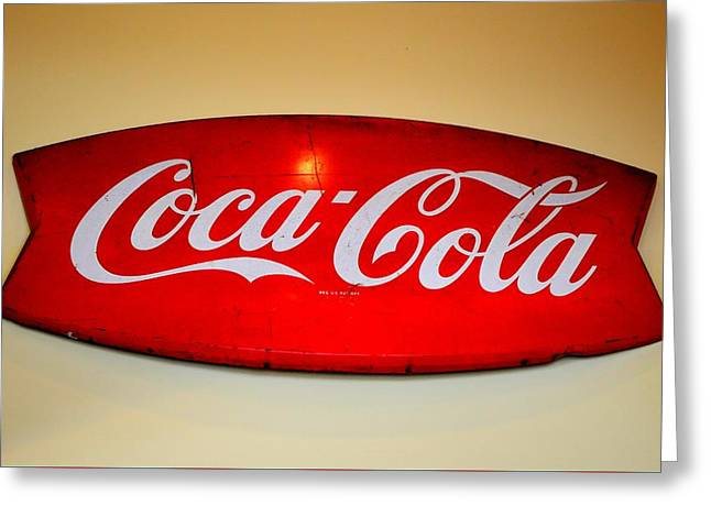 Commercial Photography Greeting Cards - Vintage Coca Cola Sign Greeting Card by Linda Covino