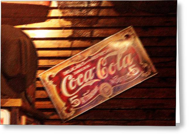 Coca Cola.coke-a-cola Greeting Cards - Vintage Coca Cola Sign Greeting Card by Linda Phelps