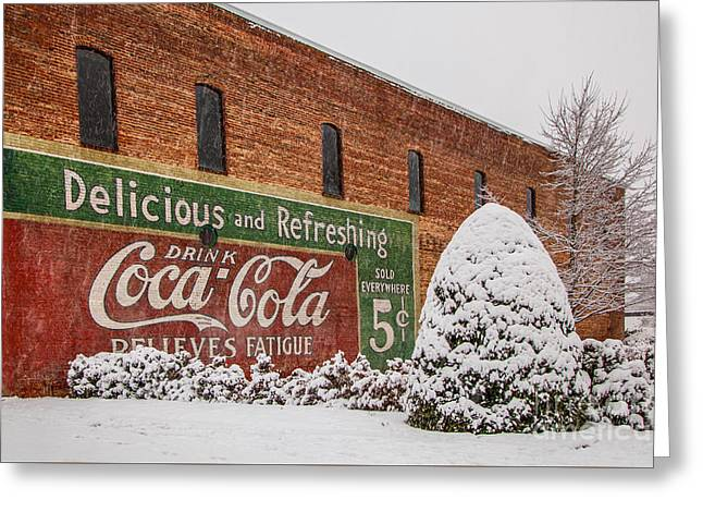5 Cents Greeting Cards - Vintage Coca Cola Sign New Albany Mississippi Greeting Card by T Lowry Wilson