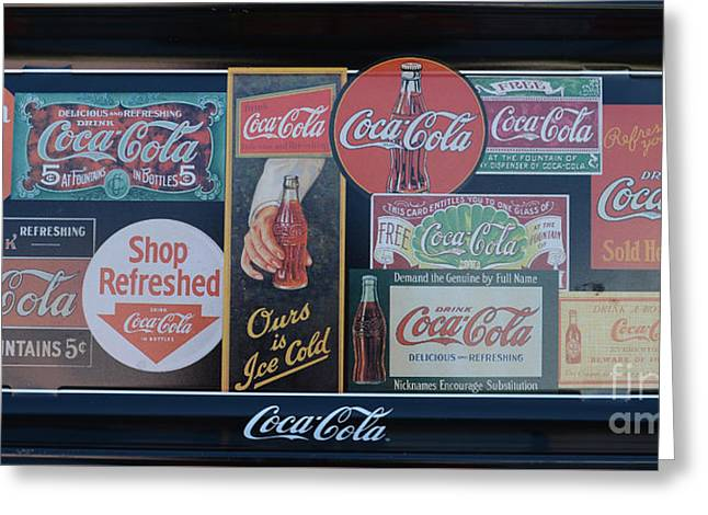 Coca Cola.coke-a-cola Greeting Cards - Vintage Coca-Cola Sign Greeting Card by To-Tam Gerwe