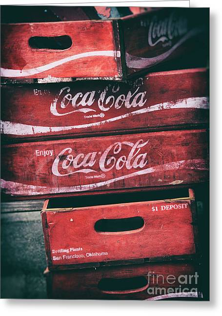 Vintage Coke Crates Greeting Card by Tim Gainey