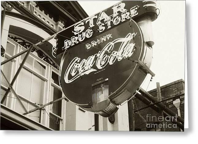Star Drug Store Greeting Cards - Vintage Coke Sign Greeting Card by Venus