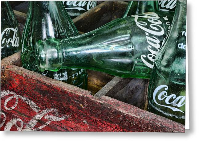 Glass Bottle Greeting Cards - Vintage Coke Square Format Greeting Card by Paul Ward
