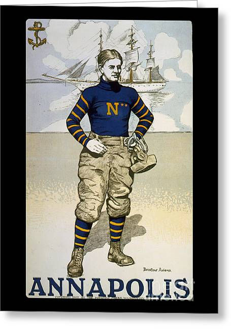 Annapolis Greeting Cards - Vintage College Football Annapolis Greeting Card by Edward Fielding