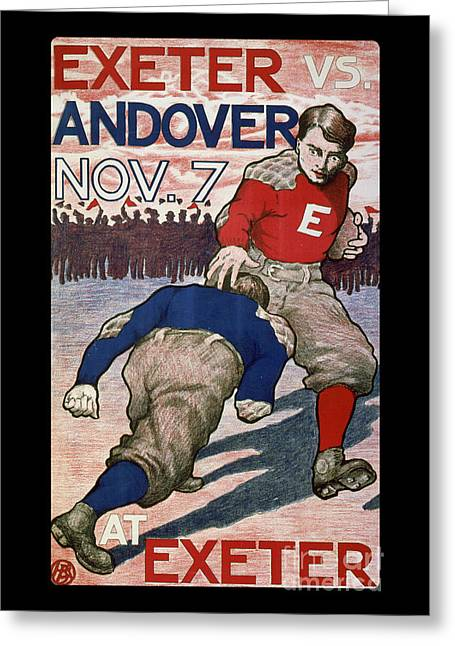 Vintage College Football Exeter Andover Greeting Card by Edward Fielding