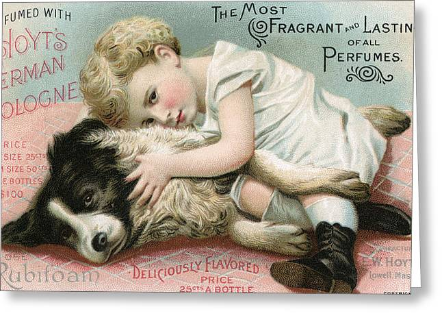 Puppy Dog Eyes Greeting Cards - Vintage Cologne Advertisement Greeting Card by Unknown