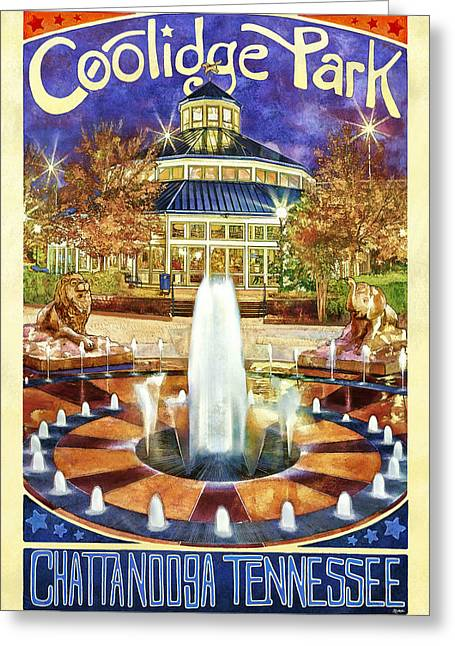 Coolidge Park Greeting Cards - Vintage Coolidge Park Poster Greeting Card by Steven Llorca