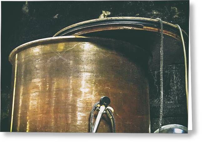 Cellar Greeting Cards - Vintage Copper Wine Making Equipment Greeting Card by Nomad Art And  Design