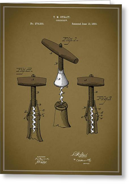 Fruit And Wine Greeting Cards - Vintage Corkscrew Greeting Card by Mark Rogan