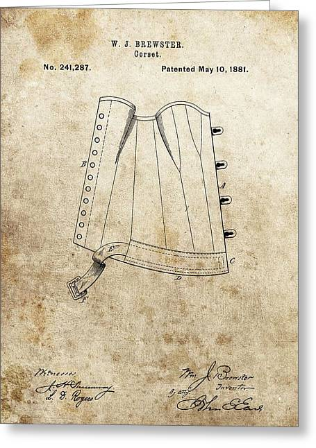Chest Mixed Media Greeting Cards - Vintage Corset Patent Greeting Card by Dan Sproul