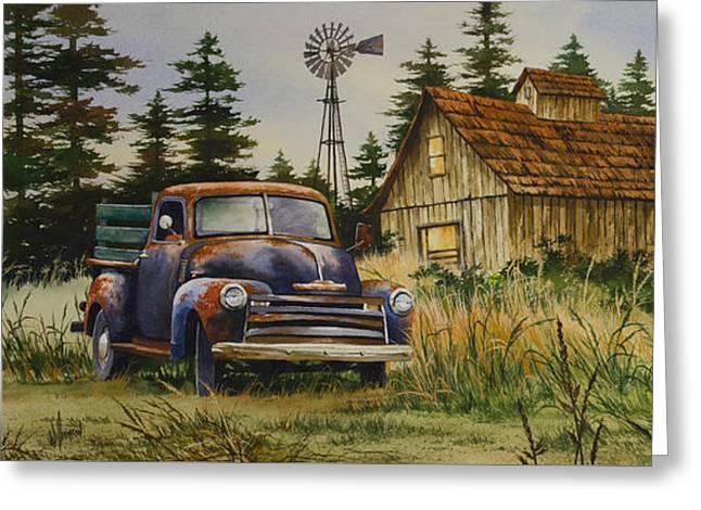 Recently Sold -  - Landscape Framed Prints Greeting Cards - Vintage Country Landscape Greeting Card by James Williamson