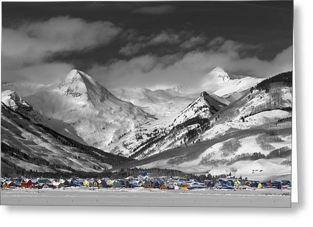 White Photographs Greeting Cards - Vintage Crested Butte Greeting Card by Dusty Demerson