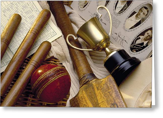 Vintage Ball Greeting Cards - Vintage Cricket Greeting Card by Simon Kayne