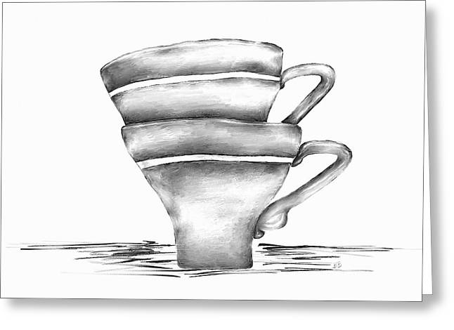 Bryant Greeting Cards - Vintage Cups Greeting Card by Brenda Bryant