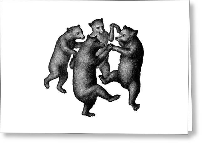 Vintage Dancing Bears Greeting Card by Edward Fielding