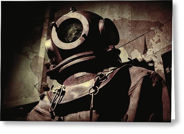 Diving Helmet Greeting Cards - Vintage Deep Sea Diving Suit Greeting Card by Daniel Hagerman
