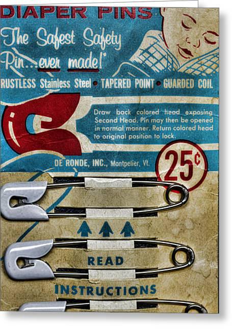 Vintage Diaper Pins Greeting Card by Paul Ward