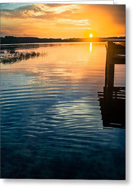 Reflection In Water Greeting Cards - Vintage Dock Sunset Greeting Card by Parker Cunningham