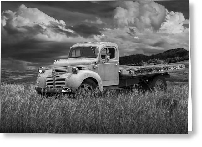 Old Trucks Greeting Cards - Vintage Dodge Truck in Wyoming Greeting Card by Randall Nyhof