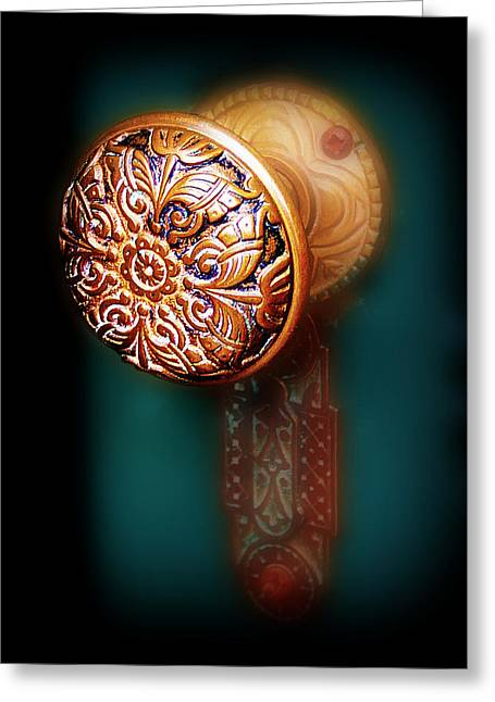 Knob Greeting Cards - Vintage Door Handle Greeting Card by Perry Webster