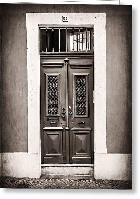 Vintage Door In Lisbon Greeting Card by Carol Japp