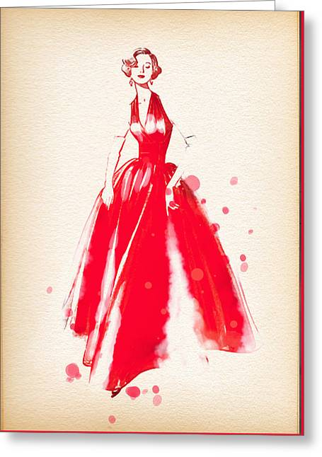 Ball Gown Greeting Cards - Vintage Dress Red Ball Gown 2 - by Nostalgic Art  Greeting Card by Nostalgic Art