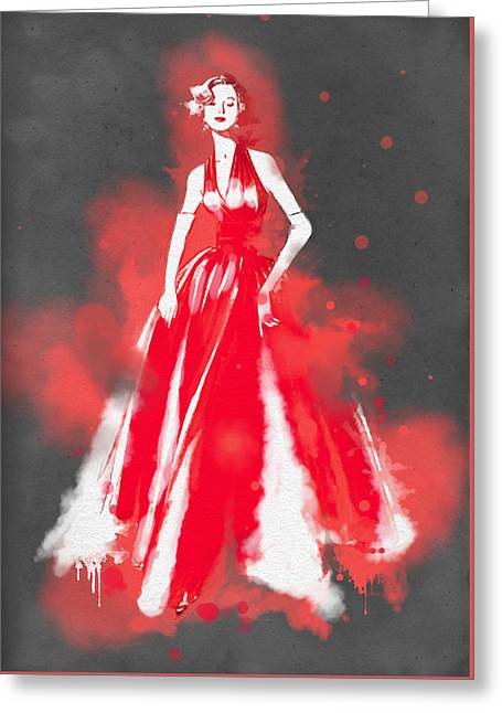 Ball Gown Greeting Cards - Vintage Dress Red Ball Gown - by Nostalgic Art Greeting Card by Nostalgic Art