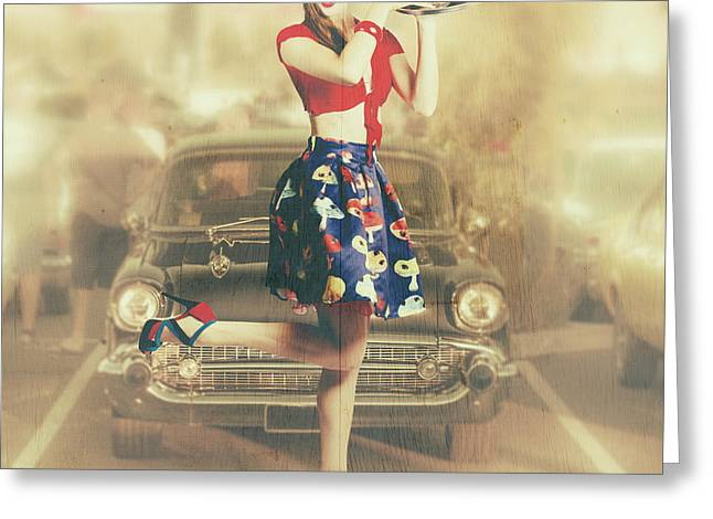 Vintage Drive Thru Pin-up Girl Greeting Card by Jorgo Photography - Wall Art Gallery