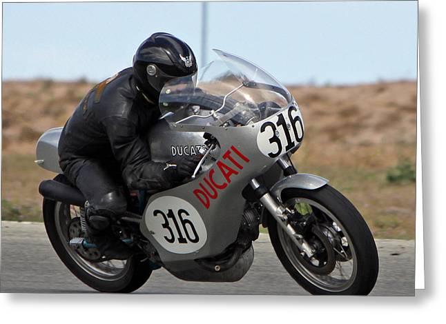 Vintage Ducati Greeting Card by Shoal Hollingsworth