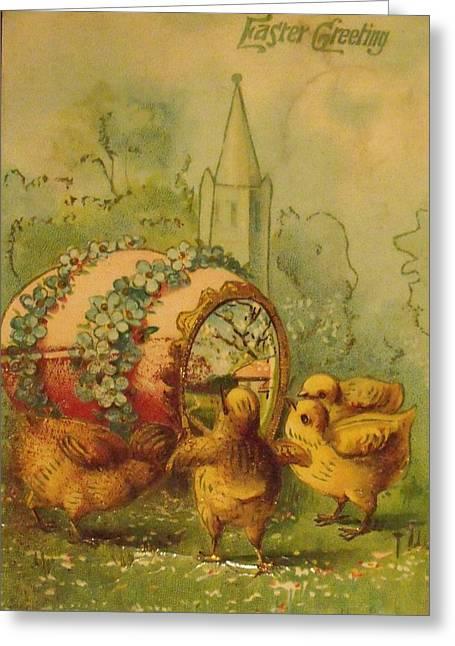 Anna Villarreal Garbis Greeting Cards - Vintage Easter Greeting Greeting Card by Anna Villarreal Garbis