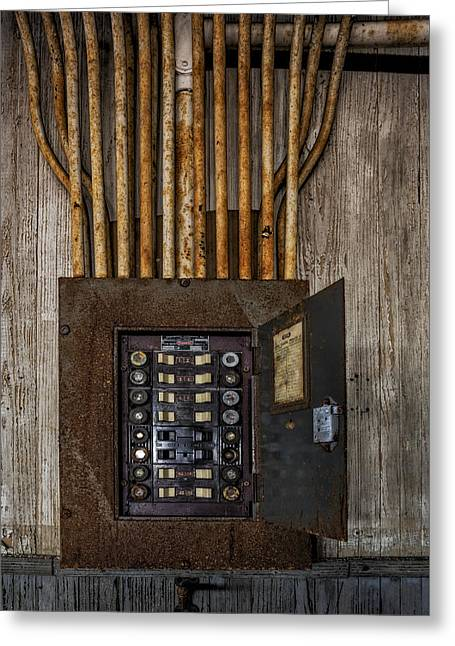 Electrician Greeting Cards - Vintage Electric Panel Greeting Card by Susan Candelario