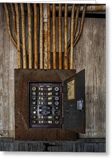 Fusebox Greeting Cards - Vintage Electric Panel Greeting Card by Susan Candelario
