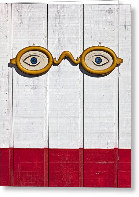 Antiques Sign Greeting Cards - Vintage eye sign on wooden wall Greeting Card by Garry Gay