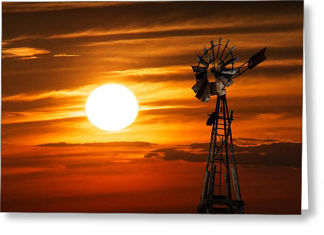 Randy Greeting Cards - Vintage Farm Windmill at Sunset Greeting Card by Randall Nyhof