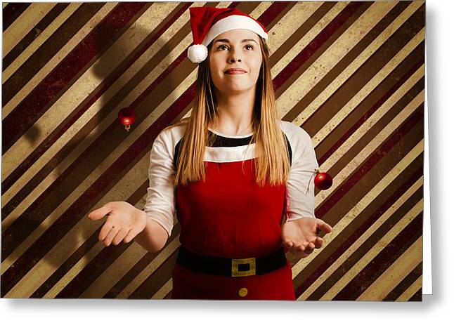 Vintage Female Elf Juggling Christmas Decorations Greeting Card by Jorgo Photography - Wall Art Gallery