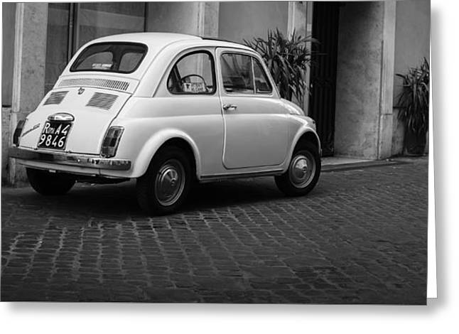 Vintage Fiat 500 Rome Italy Black And White Greeting Card by Edward Fielding