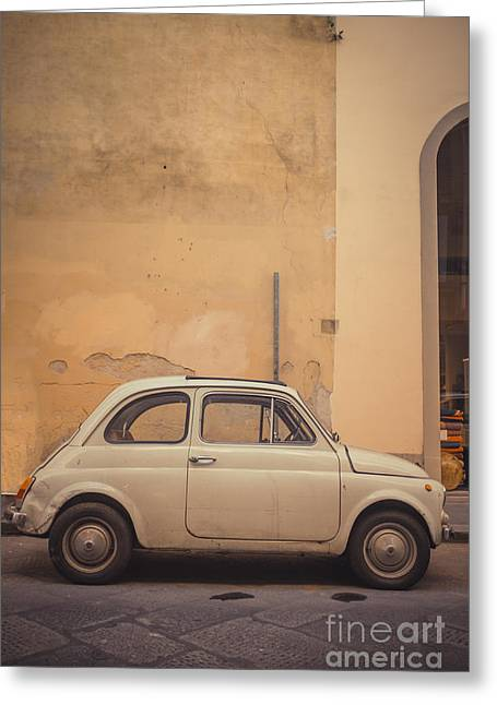 Florence Greeting Cards - Vintage Fiat in Italy Greeting Card by Edward Fielding