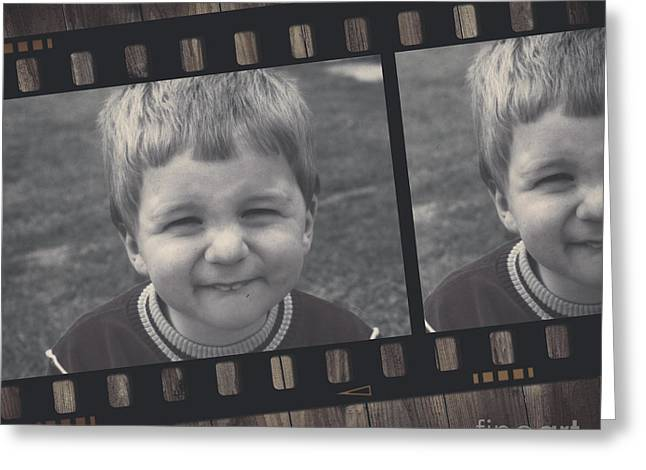 Filmstrip Greeting Cards - Vintage filmstrip boy smiling for the camera Greeting Card by Ryan Jorgensen