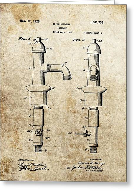 Rescue Mixed Media Greeting Cards - Vintage Fire Hydrant Patent Greeting Card by Dan Sproul