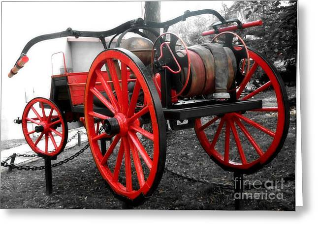 Manual Greeting Cards - Vintage fire truck Greeting Card by Flash28photography