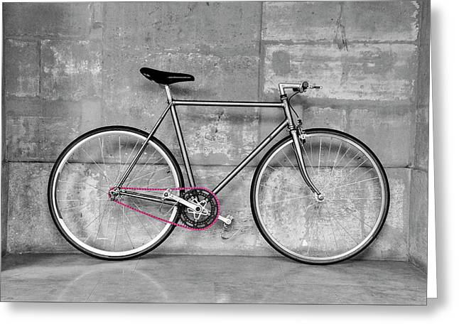 Vintage Fixed-gear Bicycle Greeting Card by Dutourdumonde Photography