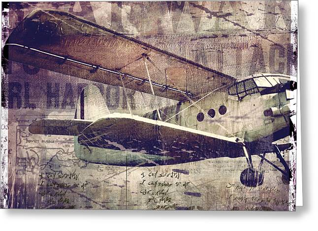 Vintage Fixed Wing Airplane Greeting Card by Mindy Sommers