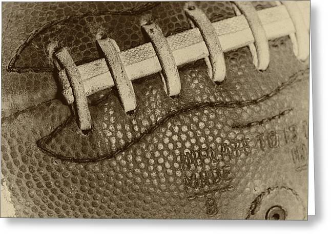 Football Closeup Greeting Cards - Vintage Football 2 Greeting Card by David Patterson